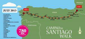 1. III dekada marszu obejmuje trasę od Astorgi do Santiago de Compostela.