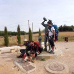 147. Enrique z psem w kapciach i z kolegami pod pomnikiem pielgrzyma.